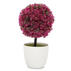 Artificial Trees PVC Ball Shape Potted Home Garden Mini Tree Plants In Pot Decor For Office Livingroom Bedroom Decorration in the House 1 Pcs (Red) -- For more information, visit image link.