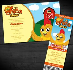 PBS Sprout's The Chica Show Inspired Printable Invitations Digital File DIY