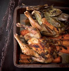 Bay and anchovy roast baby chickens with buttery carrots | Woolworths Taste