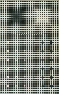 Victor Vasarely: In typical Op-art fashion, subtle changes are gradually made so that the less you stare, the more you see. As backwards as that statement is.