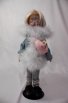"""11"""" FRENCH STYLE BISQUE HANDMADE DOLL WITH BLONDY HAIR BY WOOL"""
