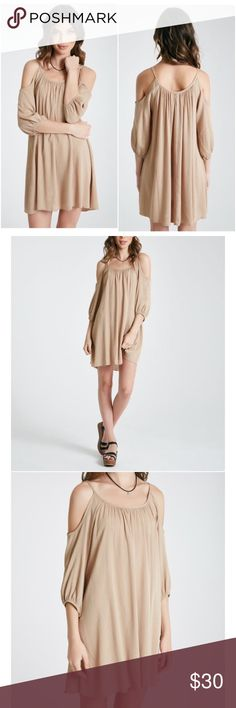 "NWT tan cold shoulder gauze dress Brand new. Double scoop neckline. 3/4 length sleeves. Spaghetti straps. 34"" from shoulder to hem. Rayon Dresses"