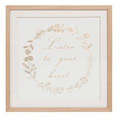 Tableau en bois 36 x 36 cm LISTEN TO YOUR HEART