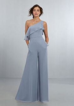 Morilee Bridesmaids 21574 One Shoulder Chiffon Bridesmaid Jumpsuit