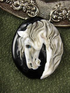NEW Lampwork  White Stallion Focal Bead by Kerribeads