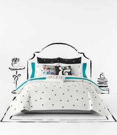 Love the cosmopolitan style and Kate Spade charm of this cute black and white bedroom décor.