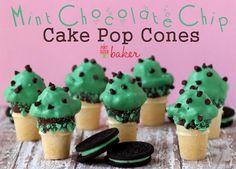 DIY Cake Pop Recipe : Mint Chocolate Chip Cake Pop Cones