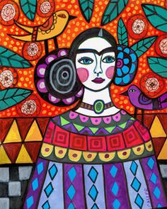 Frida Kahlo Mexican Folk Art  Frida Kahlo by HeatherGallerArt