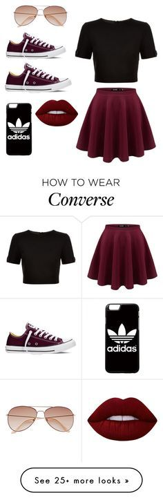 """How to style CONVERSE"" by cassiemcstones on Polyvore featuring Ted Baker, Converse, adidas, Lime Crime, H&M and converse"