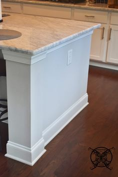 Want to Upgrade Your Kitchen Island? This is a super quick, inexpensive, easy weekend project, that provides a lot of character to an otherwise basic kitchen island by adding picture frame molding. Classic White Kitchen, Basic Kitchen, Picture Frame Molding, Picture Frames, Kitchen Island Upgrade, Kitchen Upgrades, Decorating, Home, Design