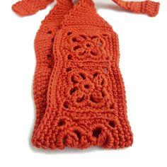 Crochet Headband, Boho Knit Hairband - in Rust Orange Cotton