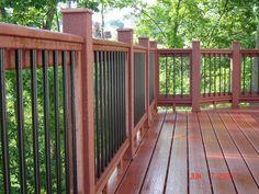 Deck Railing Parts . Deck Railing Parts . Custom Railing Artistic Panel Insert with Spindles Welded Aluminum Porch Railing, Wood Porch Railings, Porch Railing Designs, Porch Handrails, Deck Balusters, Aluminum Decking, Railing Ideas, Iron Railings, Victorian Porch