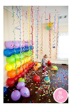 Teen Birthday Party Decorating Ideas | Balloons on the wall, what a great idea! The confetti on the floor and ...
