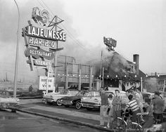 Montreal, corner Lajeunesse and Fleury, July 1962 Montreal Ville, Of Montreal, Canada Eh, Hotel Motel, Gas Station, The Good Old Days, Far Away, Back In The Day, Times Square