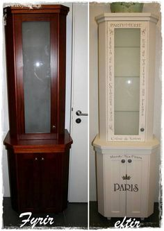 Before and after.  From living room cabinet to a bathroom closet. A very fun project :-)