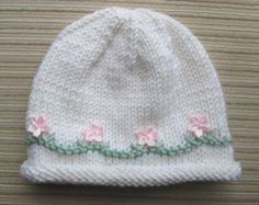 Knitting Pattern #110 White Hat with Pink Flowers for a Girl in Sizes 6 months and 2-4 years