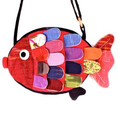 Fish Shaped Animal Cross Body Patchwork Bag in Red | DOTOLY