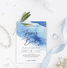 modern wedding invitation template with blue alcohol ink design Restaurant Names, Street Names