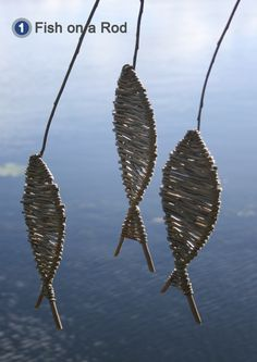 'Fish on a rod' - woven willow fish project included in book: Willow Craft 10 Simple Projects