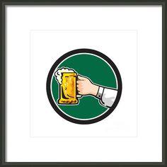 Hand Holding Mug Beer Circle Retro Framed Print By Aloysius Patrimonio