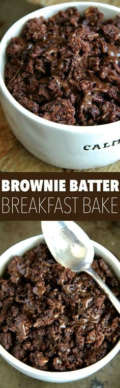 Brownie Batter Breakfast Bake -- Enjoy the rich chocolatey taste of brownies in a bowl that's healthy enough to eat for breakfast! || http://runningwithspoons.com #breakfast #vegan #chocolate