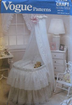 Vogue 2869 Baby Bassinet Accessories Size: One Used Sewing Pattern Bassinet Cover, Baby Bassinet, Vintage Vogue Patterns, Vogue Sewing Patterns, Baby Nursery Decor, Girl Nursery, Baby Necessities, Baby Cover, Mattress Pad