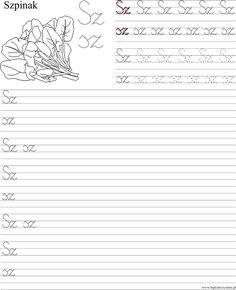 Szablon z nauką pisania dwuznaku Sz sz Polish Language, Handwriting, Classroom, Math Equations, Education, Children, Youtube, Speech Language Therapy, Calligraphy