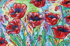 """Poppies, Poppies"" floral painting, original painting by melanie douthit, www.melaniedouthit.com"