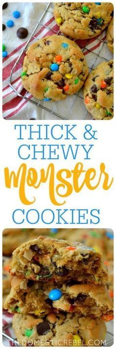 These Thick & Chewy Monster Cookies are awesome! Loaded with peanut butter, gooey chocolate, mini M&M's candy and oats, they're soft, chewy, gooey and AMAZING!