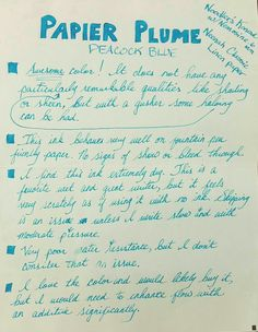 Papier Plume Peacock Blue - posted in Ink Reviews: