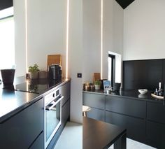 Black kitchen cabinets.