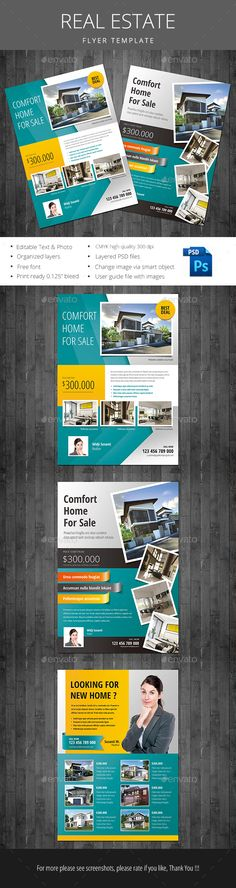 Buy Real Estate Flyer by monggokerso on GraphicRiver. Real Estate flyer file feature : Size cm + Bleed area CMYK / 300 dpi Easy to edit text Well organized PSD . Real Estate Ads, Real Estate Flyers, Real Estate Business, Real Estate Marketing, Graphisches Design, Flyer Design, Layout Design, Template Flyer, Real Estate Flyer Template