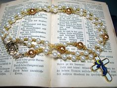 Necklaces – Rosary Guardian Angel Baptism – a unique product by Rosenkranz-Atelier on DaWanda