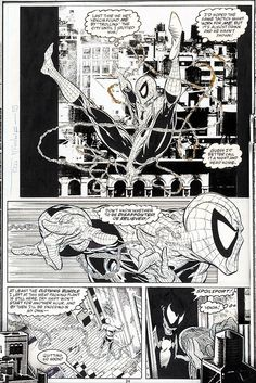 """Todd McFarlane Amazing Spider-Man """"Dead Meat"""" Page 24 Original Art in Display Case (Marvel, - Available at 2014 November 20 - 22 Comics &. Stan Lee Spiderman, Black Spiderman, Spiderman Art, Amazing Spiderman, Comic Book Pages, Comic Book Characters, Comic Books Art, Marvel Characters, Book Art"""