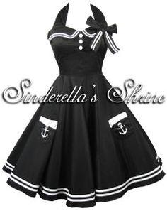 "Hell Bunny Black ""Motley"" 50's Sailor Party Dress"