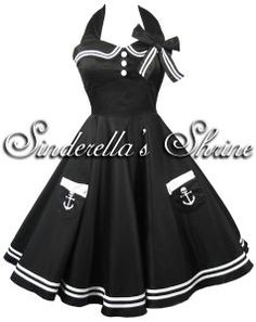 "Hell Bunny Black ""Motley"" 50's Sailor Party Dress"
