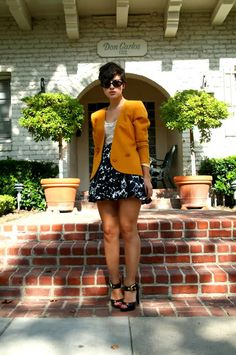 Wearing vintage mustard blazer, cream lace leotard by American Apparel, vintage sunglasses  aug