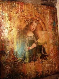 Валентина Степаненкова | ВКонтакте Mixed Media Painting, Mixed Media Canvas, Mixed Media Art, Painting On Wood, Mix Media, Altered Books, Altered Art, Blessed Mother Mary, Madonna And Child