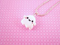 Ghost Kawaii Polymer Clay Pendant Necklace