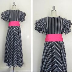 IN THE SHOP! Vintage 1960s Black Grey Whited Striped Dress (36/32/free) http://ift.tt/1lP6fC1