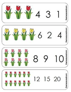 Printable Counting Activity for Preschoolers: Spring Tulips Count & Clip Cards - The Measured Mom