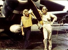 Ensign George Gay (right) sole survivor of VT-8 at Midway standing beside his TBD Devastator on June 4 1942 before the Battle of Midway. The other crewman pictured is one of his rear gunners.