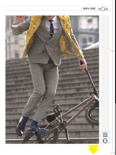 BMX chic : double breasted De Fursac suit in GQ France #menswear #style #fashion #bmx