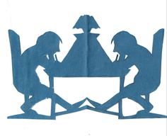 """Paper cutting. """"Writing letter is like speaking to oneself in a very careful way""""."""