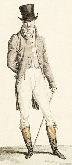 Mr Knightley - he is dressed perhaps for walking from Donwell to Highbury. He looks sensible and wears a well-cut but simple outfit. 'Mr. Knightley, a sensible man about seven or eight-and-thirty' (Emma ch1). 'Mr. Knightley had a cheerful manner' (ch1)  but 'downright, decided, commanding sort of manner' according to Emma (ch4). Costume parisien, 1809: