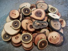50 Mixed Wood And Size Buttons 7 Wood Types by PymatuningCrafts, $26.00