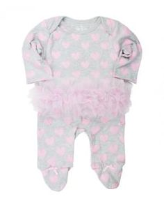 Ruffle Butts Heart Print Footie W/ Attached Tutu for Infants Fall 2015