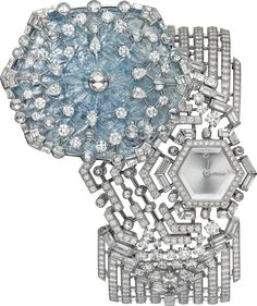 CARTIER. High Jewellery Secret Watch, quartz movement. Rhodium-finish 18K white Gold case and bracelet set with an engraved Sapphire of 51.55 cts, 12 pear-cut dDiamonds, 94 baguette-cut Diamonds totalling 5.54 cts, 41 rose-cut Diamonds and 844 brilliant-cut Diamonds totalling 12.84 cts, silvered translucent lacquered sunray effect dial, square-shaped Diamond marker at 12 o'clock, rhodium-finish 18K white Gold sword-shaped hands. Water-resistant to 3 bar (approx. 30 meters). Unique piece.