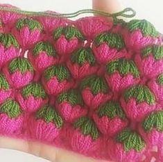 Üç Boyutlu Çilek Lif Modeli Yapımı Knitting ProjectsKnitting For KidsCrochet PatternsCrochet Stitches Puff Stitch Crochet, Filet Crochet, Crochet Motif, Crochet Shawl, Easy Crochet, Crochet Flowers, Crochet Baby, Crochet Stitches Patterns, Baby Knitting Patterns