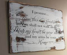 Rustic Wedding Vow Sign Made From Reclaimed Wood - From This Day Forward Wood Sign - Wedding Gift Idea - Rustic Wedding Decor - Love Sign - Wall Diy Decor Wedding Vows, Wedding Signs, Diy Wedding, Wedding Ideas, Wedding Stuff, Wedding Pictures, Wiccan Wedding, Dream Wedding, Brunch Wedding